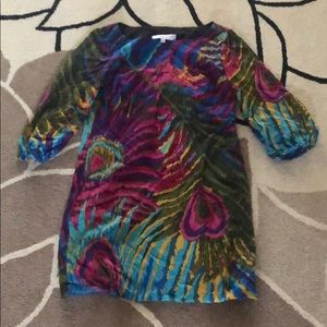 Trina Turk Rainbow Peacock Feather Dress 2